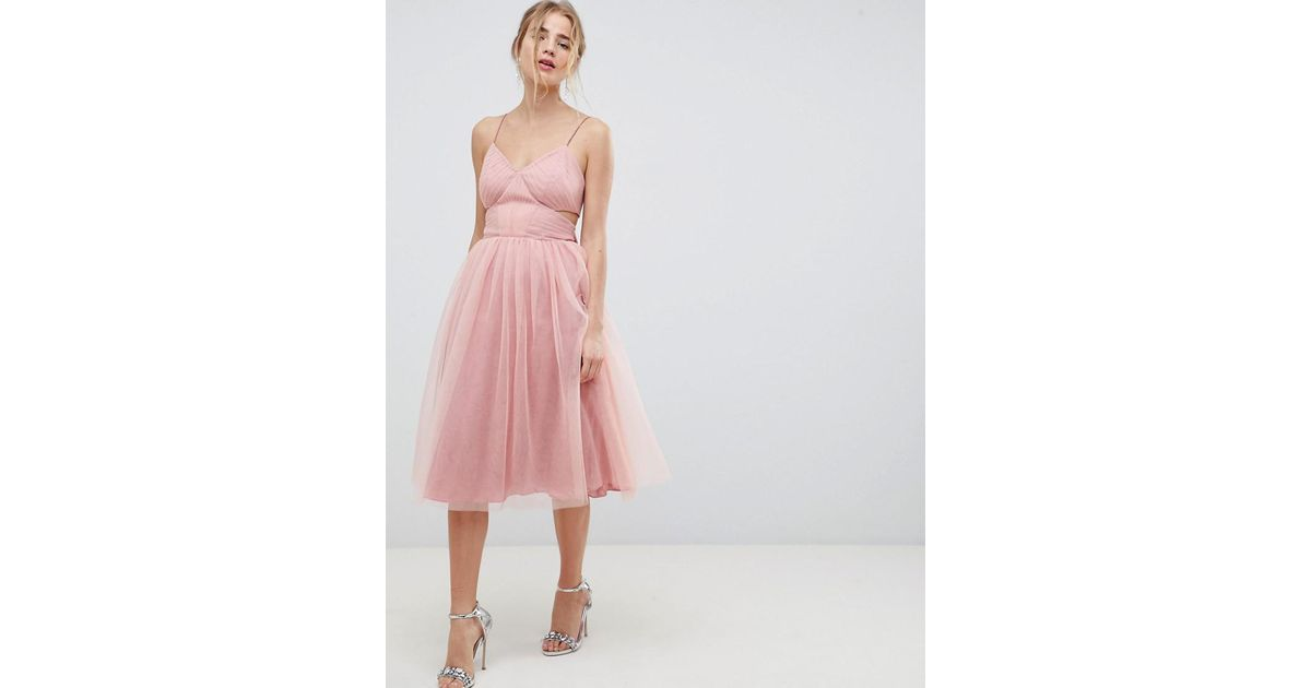 Lyst - Asos Design Midi Tulle Prom Dress With Cut Out Sides And Bow ...