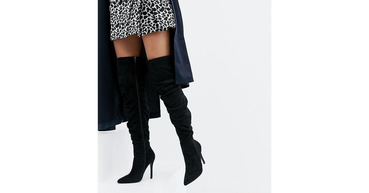Suede Stiletto Heeled Slouchy Over