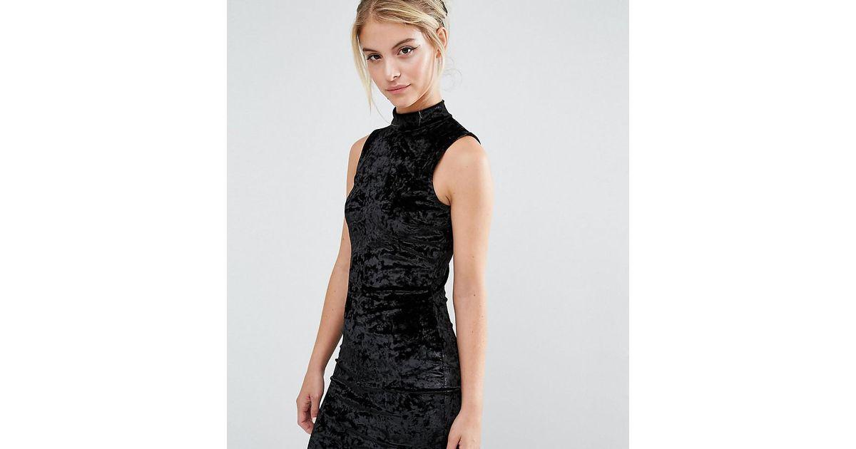 Lyst Miss Selfridge Crushed Velvet High Neck Bodycon Dress In Black
