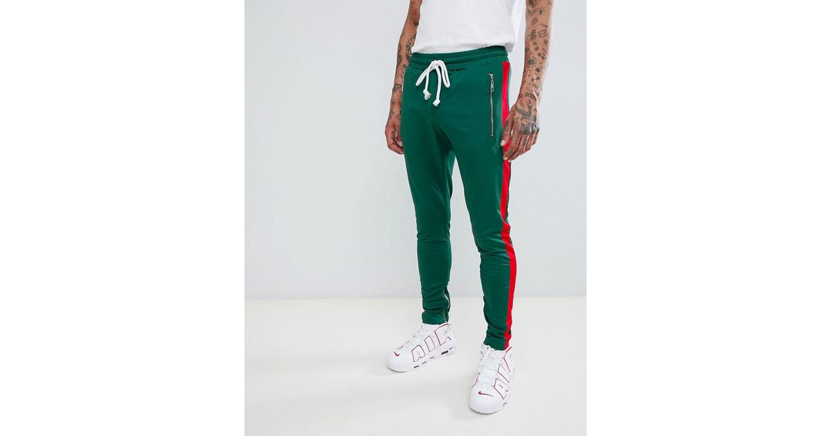 better price choose clearance most desirable fashion Criminal Damage Skinny Sweatpants In Green With Red Side Stripe for men