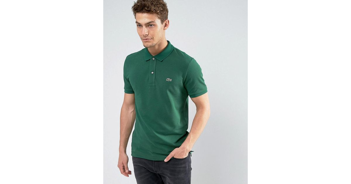 974b3041c Lacoste Slim Fit Pique Polo In Green in Green for Men - Lyst