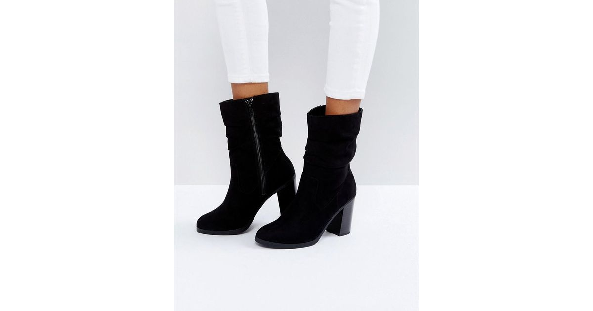 617aed49c09 Lyst - New Look Slouch Mid Calf Heeled Boot in Black