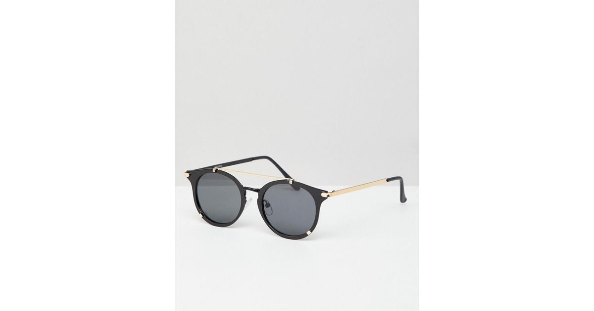d6ebedf14754 ASOS Round Sunglasses In Black Metal With Gold Details in Black for Men -  Lyst
