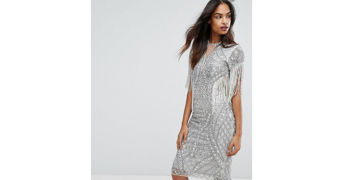 Lyst - A Star Is Born All Over Embellished Pencil Dress With Fringing in  Metallic