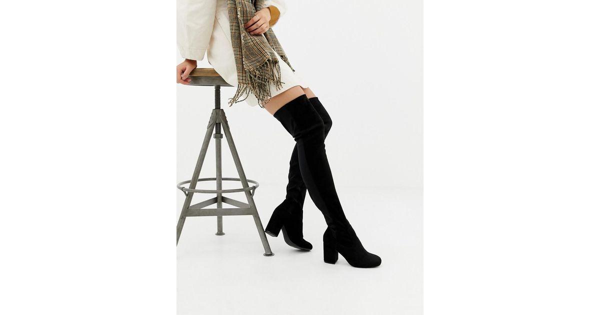 great quality top quality vast selection ASOS Denim Asos Design Petite Kadi Heeled Thigh High Boots in ...