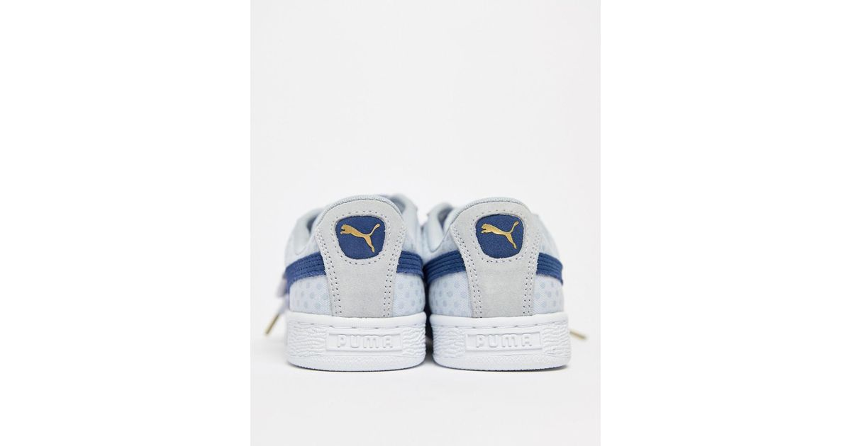 new arrivals 2c82f 94906 PUMA Basket Heart Denim Trainer In Blue