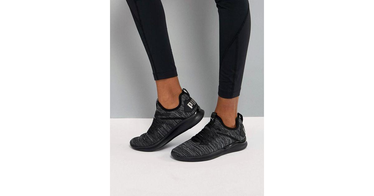 hot sale online 4e6ea 422a0 PUMA Black Running Ignite Flash Evoknit Satin Trainers
