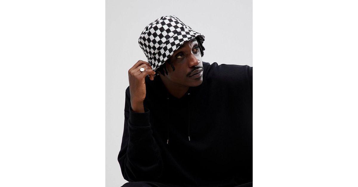 70832bb320ebc Asos Bucket Hat In Checkerboard in Black for Men - Lyst