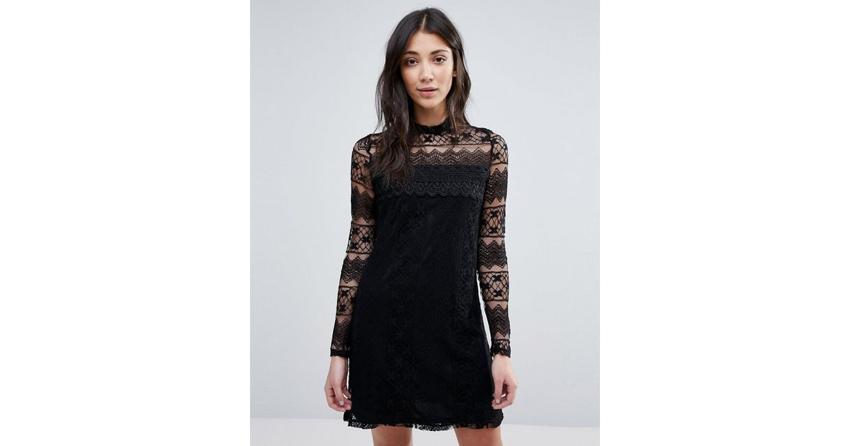 794eb265b3 Lyst - Vila High Neck Long Sleeve Dress in Black