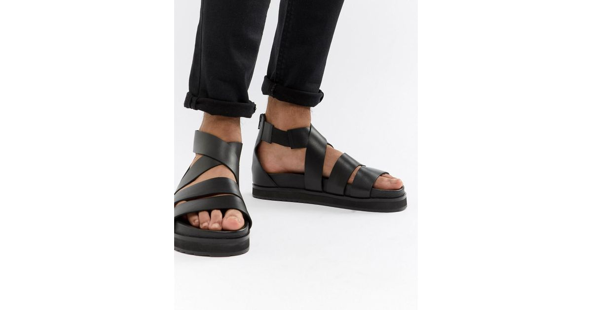f20ed79051 Asos Design Gladiator Sandals In Black Leather With Chunky Sole in Black -  Lyst