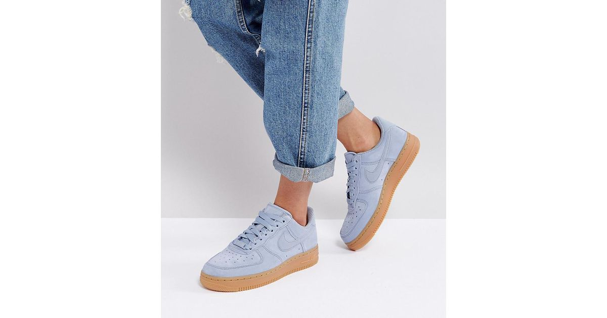 Nike Gray Air Force 1 '07 Trainers In Glacier Blue Suede With Gum Sole