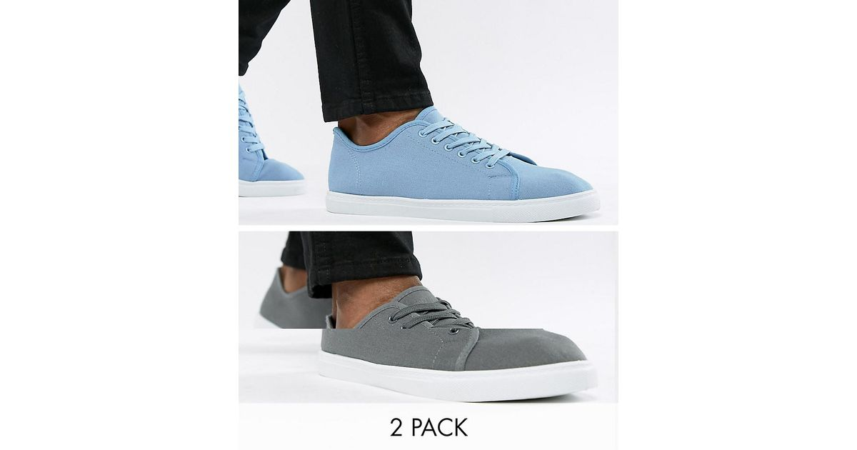 2 Pack Lace Up Plimsolls - Grey Truffle UXjpdg
