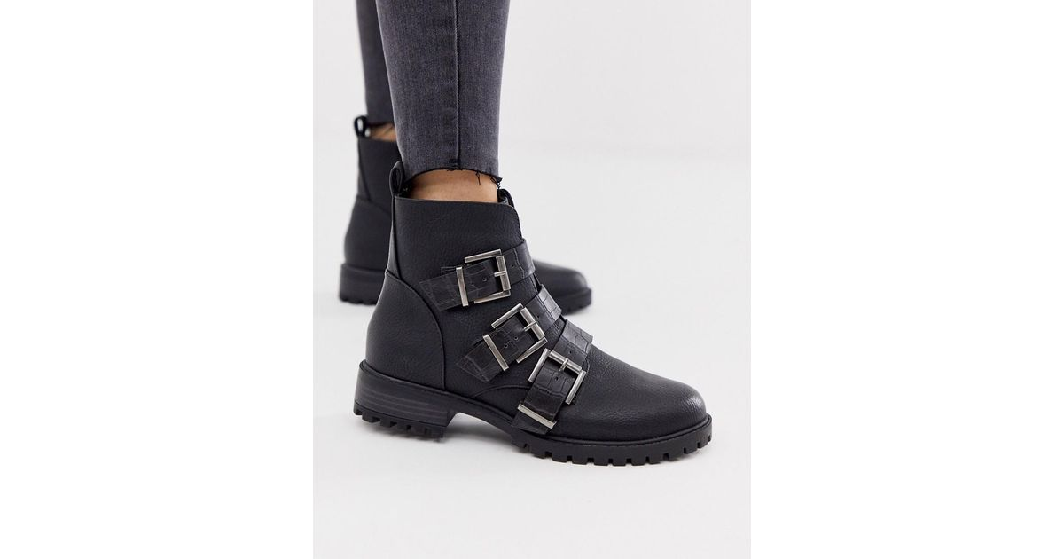 Leather Croc Strap Flat Boots in Black