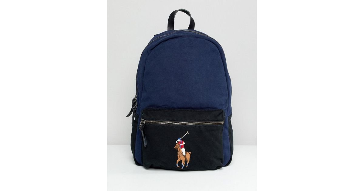Polo Ralph Lauren Large Multi Player Logo Embroidery Canvas Backpack In  Navy black in Blue for Men - Lyst 30fec11582d22