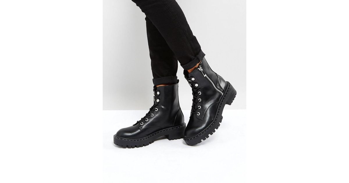 60266acc708 Stradivarius Black Zip Side Chunky Ankle Boots