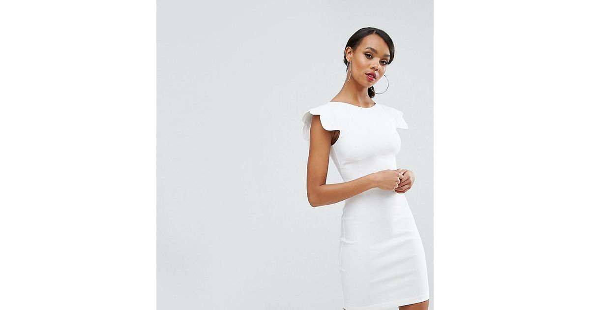 234fc5c7a230 Vesper Pencil Dress With Scallop Sleeve in White - Lyst