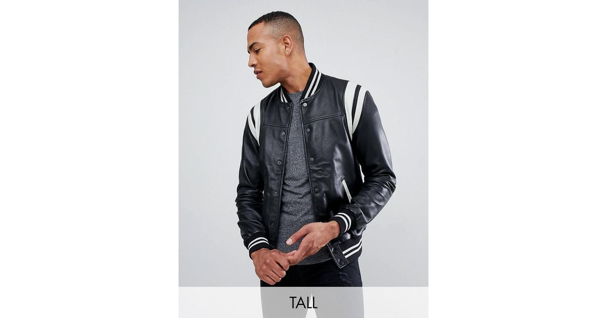 b3d27337b Barney's Originals Black Tall Real Leather Varsity Jacket With Panelling  for men