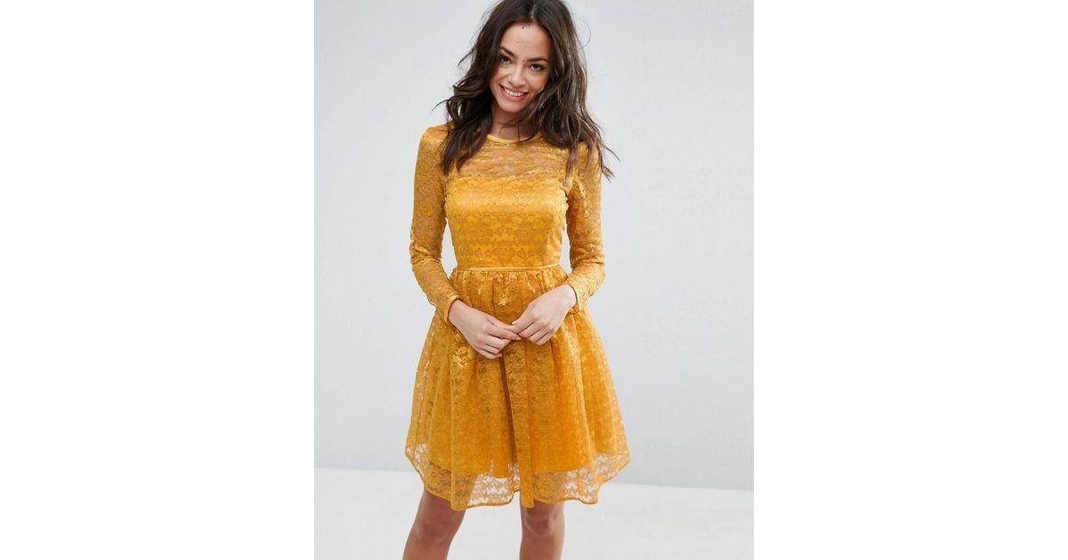 asos pretty lace mini prom dress in yellow lyst