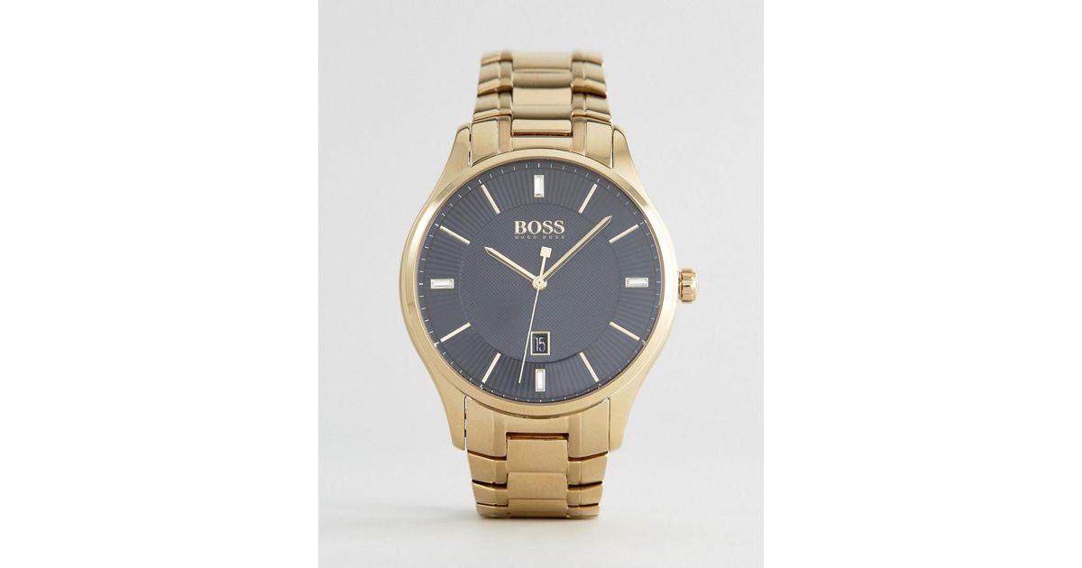 916c69983fd8 BOSS 1513521 Governor Bracelet Watch In Gold in Metallic for Men - Lyst