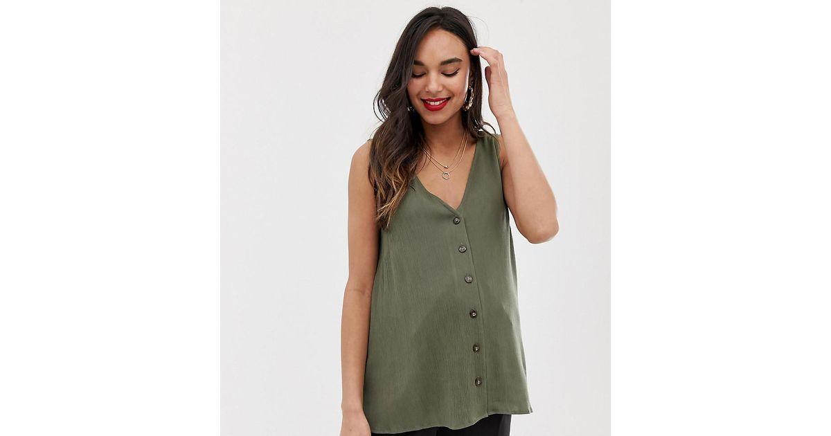 531e767727230f Lyst - ASOS Asos Design Maternity Sleeveless Button Through Sun Top In  Crinkle in Green