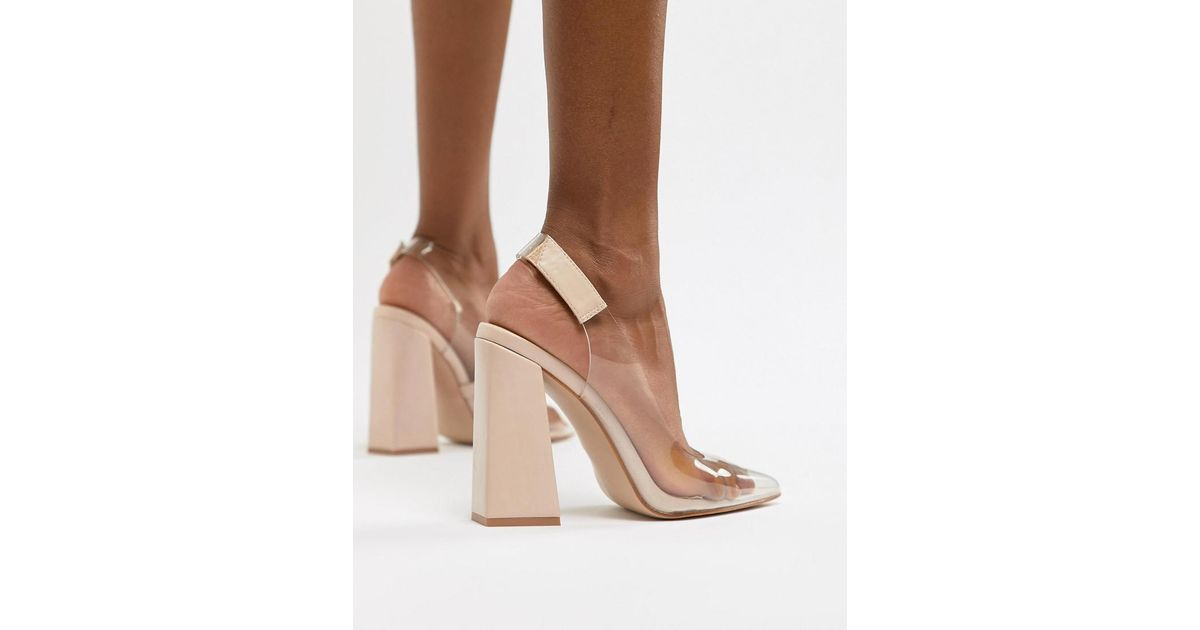 24028bce125 Public Desire Lure Nude Clear Detail Block Heeled Shoes in Pink - Lyst