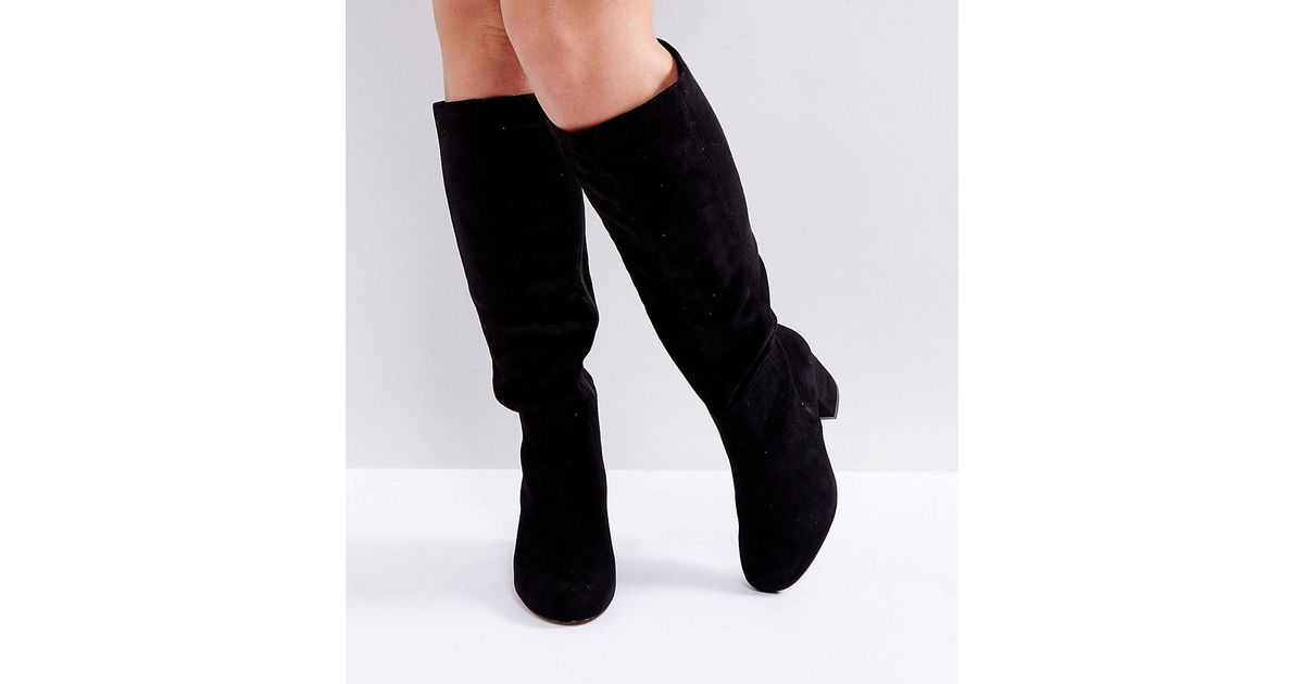 afb95de04da Lyst - ASOS Carson Wide Fit Knee High Boots in Black