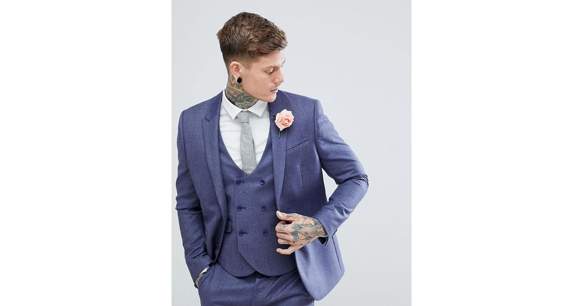 b4eaad8481e ASOS Asos Wedding Slim Suit Jacket In Deep Blue 100% Merino Wool in Blue  for Men - Lyst