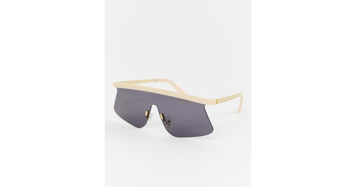 3cad24b941 Lyst - ASOS Flared Flat Lens Visor Sunglasses in Natural