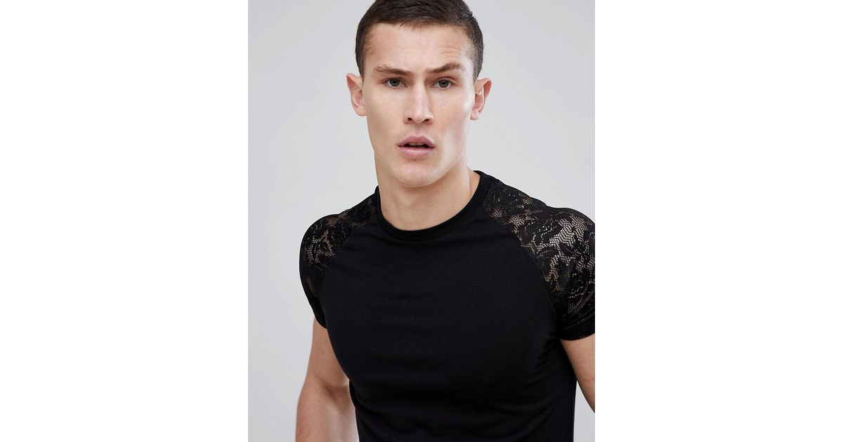 DESIGN muscle t-shirt with curve hem and contrast lace sleeves in black - Black Asos Outlet Collections Sale Popular Qq1mt5Wox