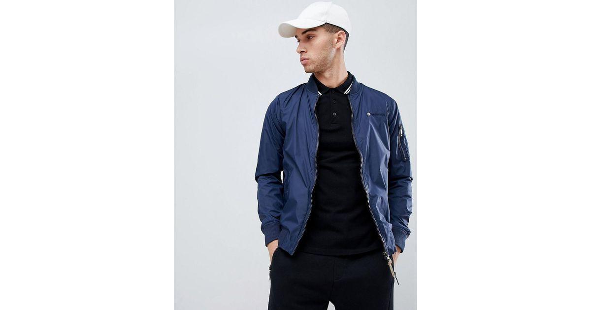 0c6087917 Lambretta Blue Contrast Collar Harrington Jacket for men