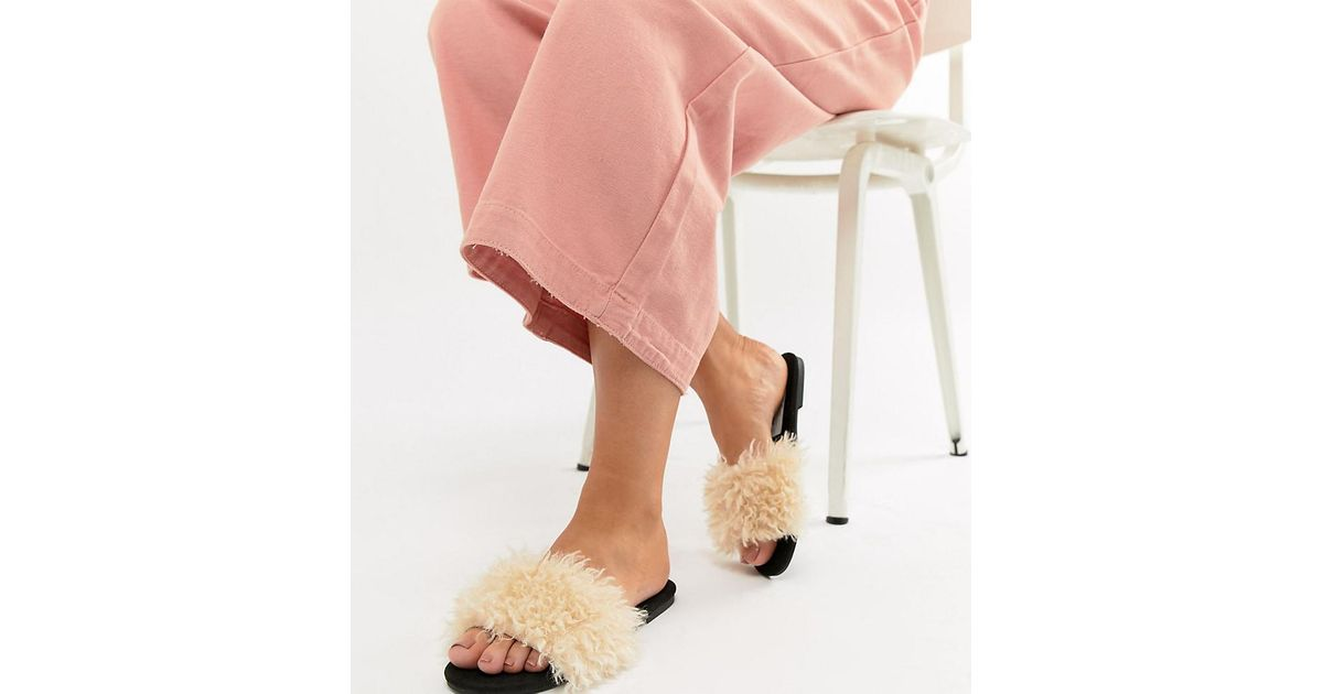 Fuzz Wide Fit Faux Fur Sliders