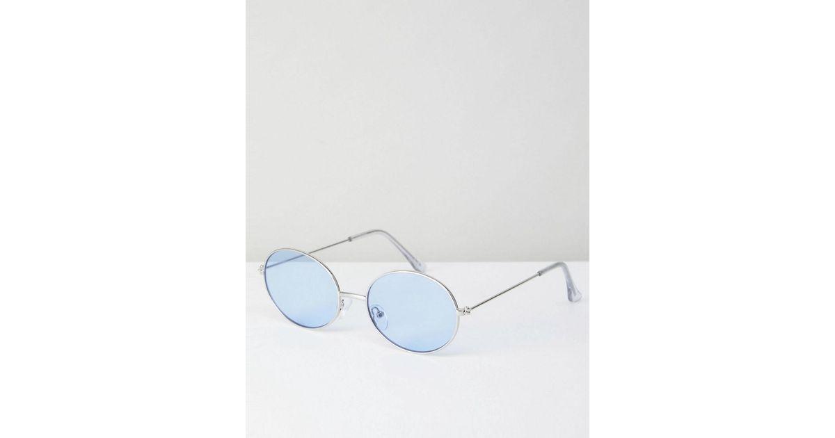 Lyst - Lunettes de soleil ovales tendance en mtal style 90 s avec verres  bleuts ASOS en coloris Métallisé 33c450cff1de