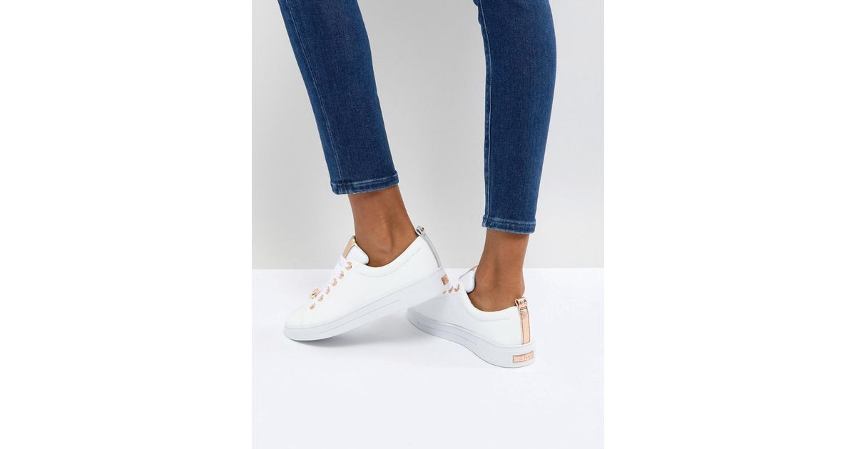 e31c2ff08acda Lyst - Ted Baker Kellei White Leather Trainers in White