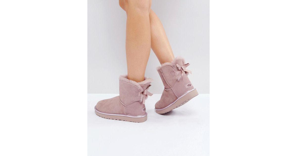 1a666b04c79 Ugg Pink Mini Bailey Bow Ii Dusk Metallic Boots