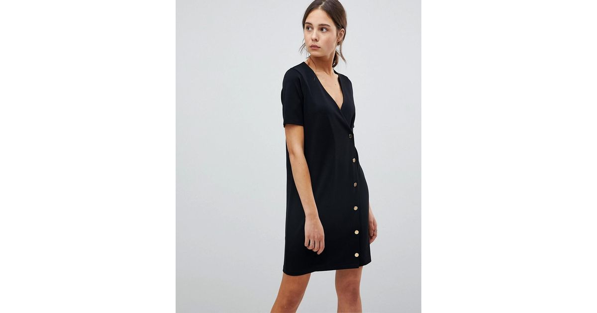 amazing selection another chance most popular ASOS Denim Asos Button Front T-shirt Dress In Ponte in Black - Lyst