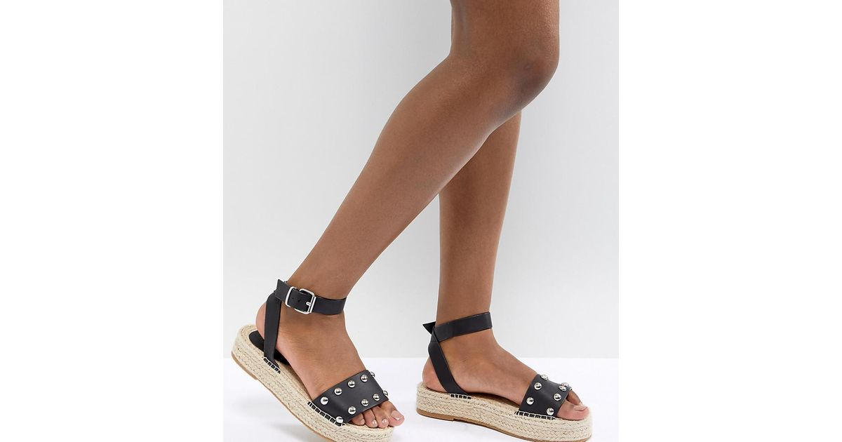837f442ef8ef ASOS Design Jake Studded Espadrille Sandals in Black - Lyst