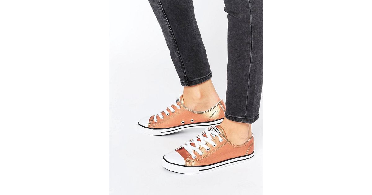 converse rose gold all star metallic leather ox trainers