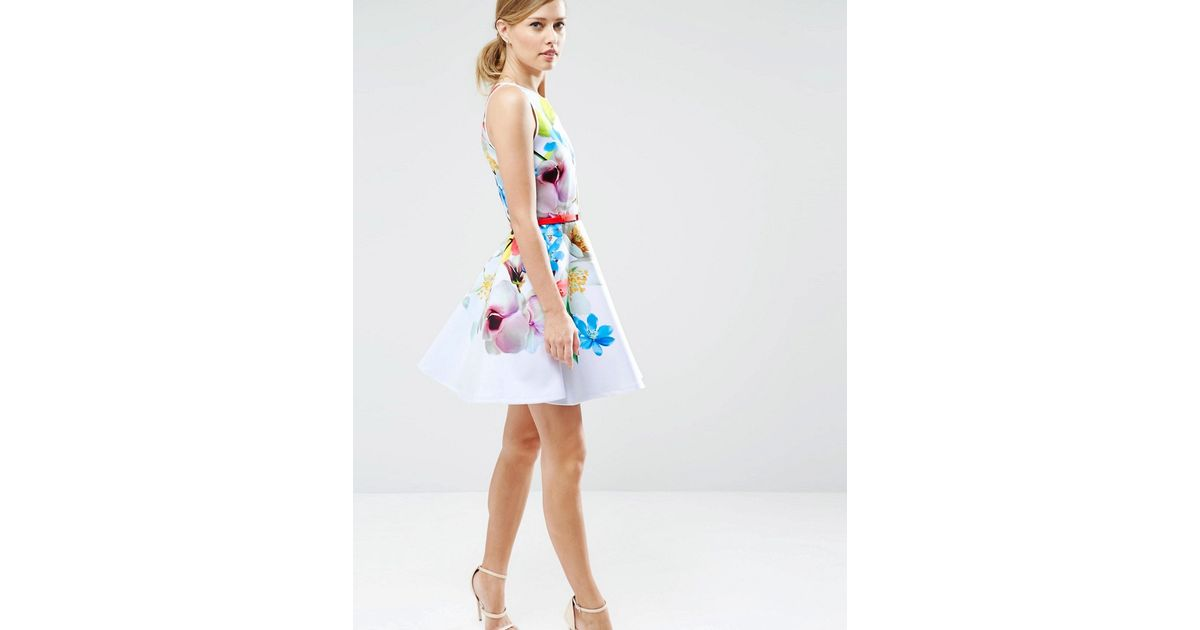 21d741f007ac3c Lyst - Ted Baker Skater Dress In Forget Me Not Print - 99-white in White