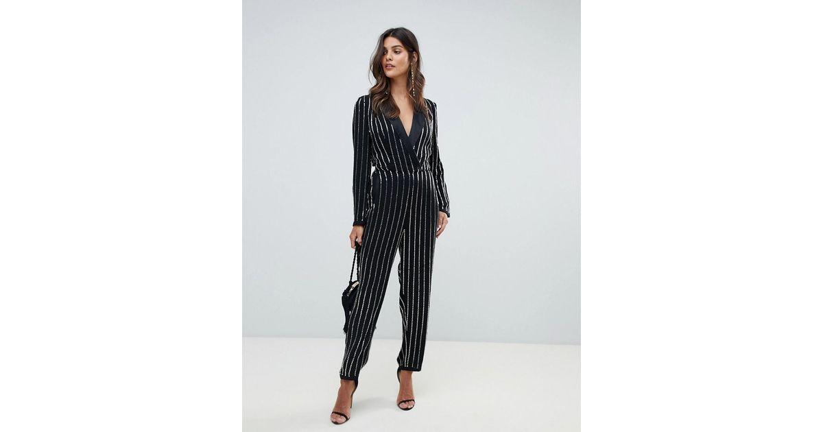 357247f338c Lyst - ASOS Embellished Tux Jumpsuit in Black