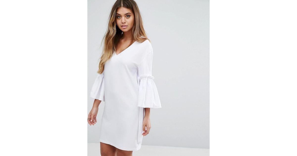 White V-Neck Dress