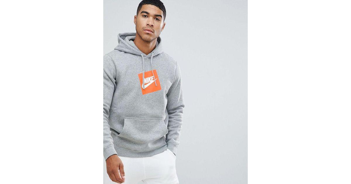 6eecb96b Nike Box Logo Hoodie In Grey 928719-063 in Gray for Men - Lyst