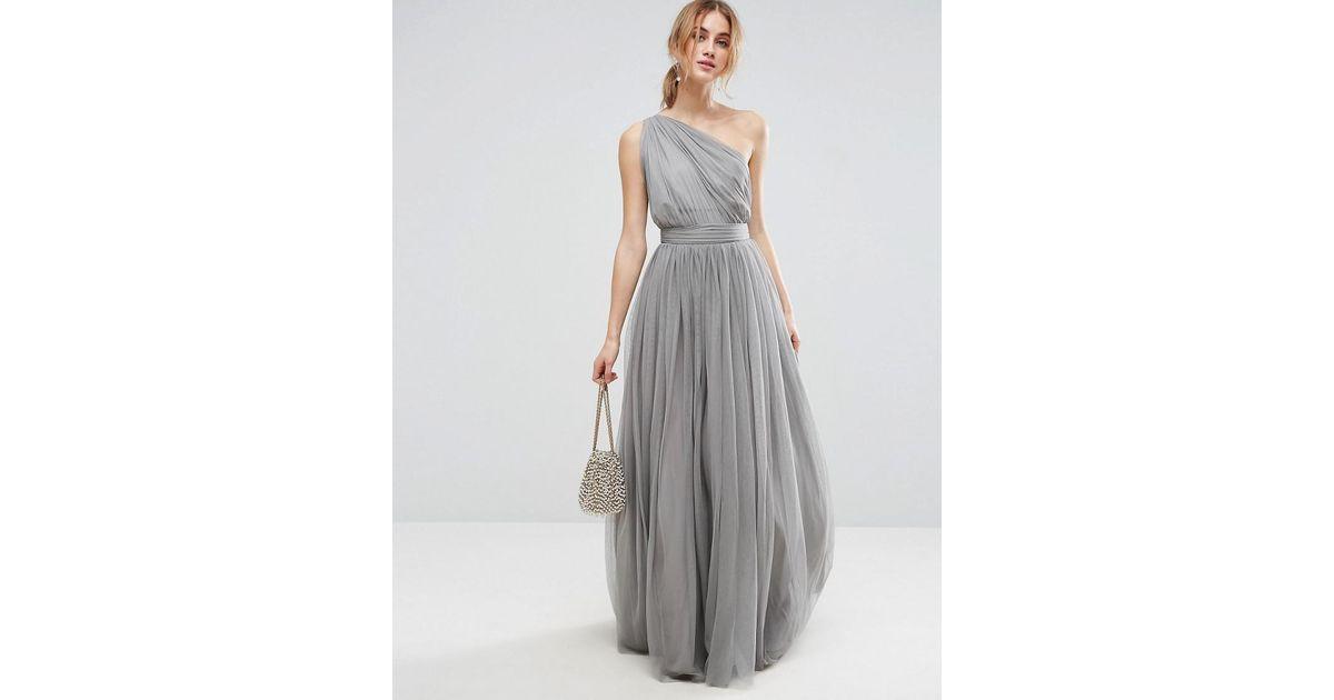 1e1fb505f640 ASOS Premium Tulle One Shoulder Maxi Dress in Gray - Lyst