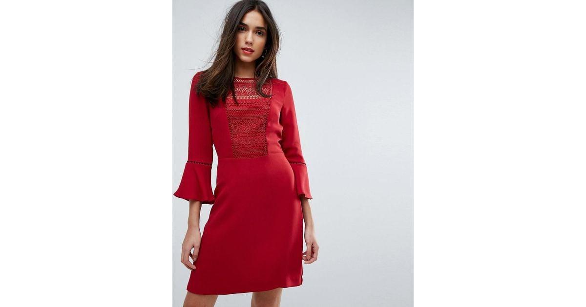 caa06e066c6 Warehouse Crochet Bib Fluted Sleeve Skater Dress in Red - Lyst