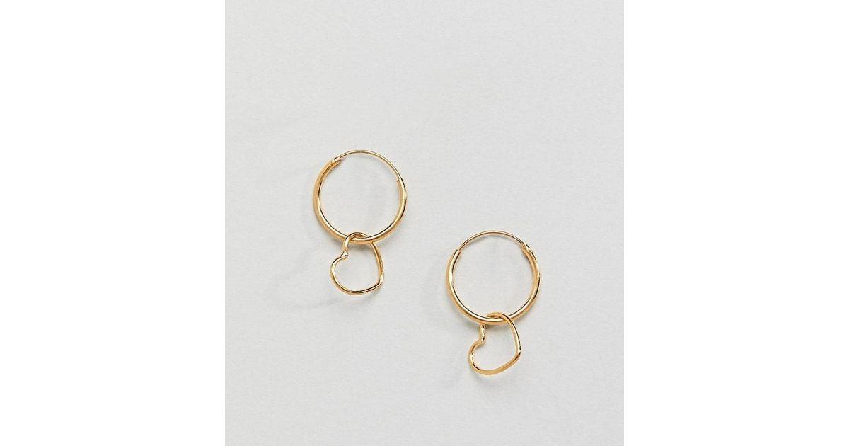 Lyst Asos Gold Plated Sterling Silver Hanging Heart Charm Hoop Earrings In Metallic