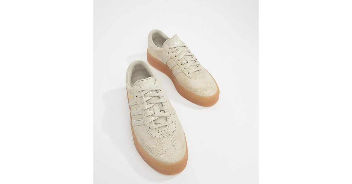 bc382ddd58188 adidas Originals Samba Rose Sneakers In Tan With Gum Sole in Natural ...