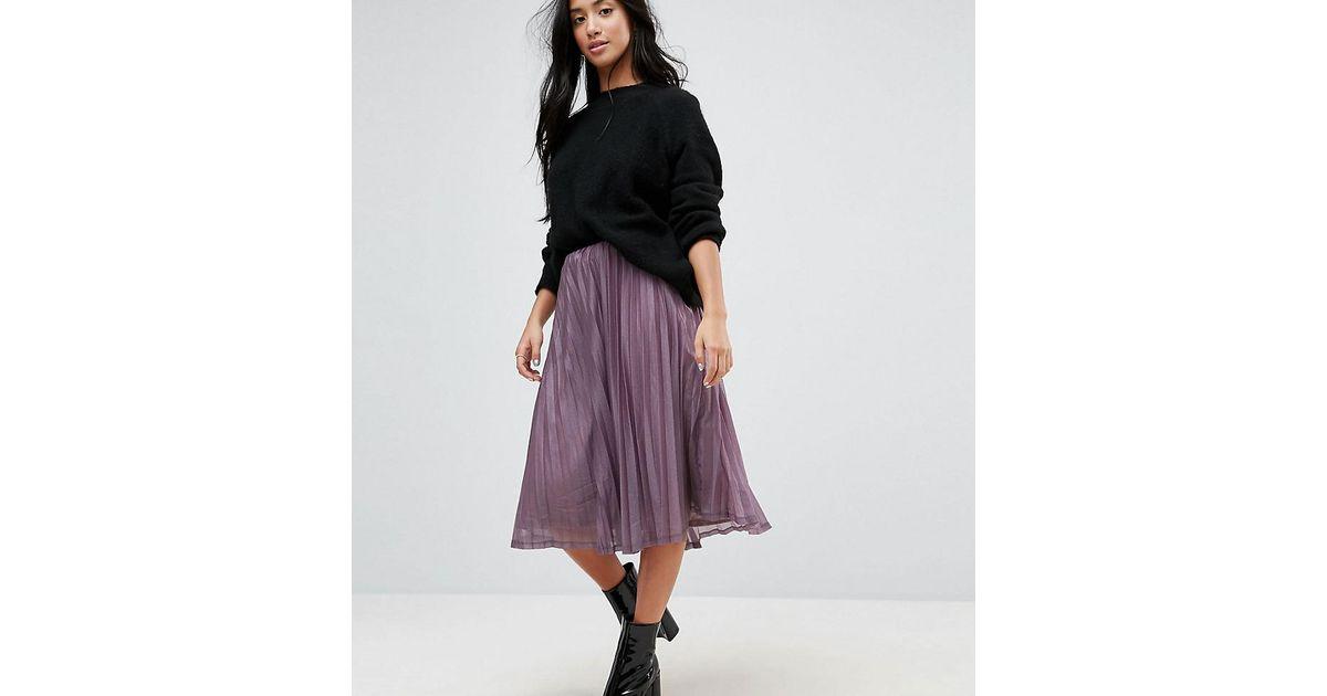 a1ed160ad174 Vero Moda Glitter Pleated Midi Skirt in Purple - Lyst