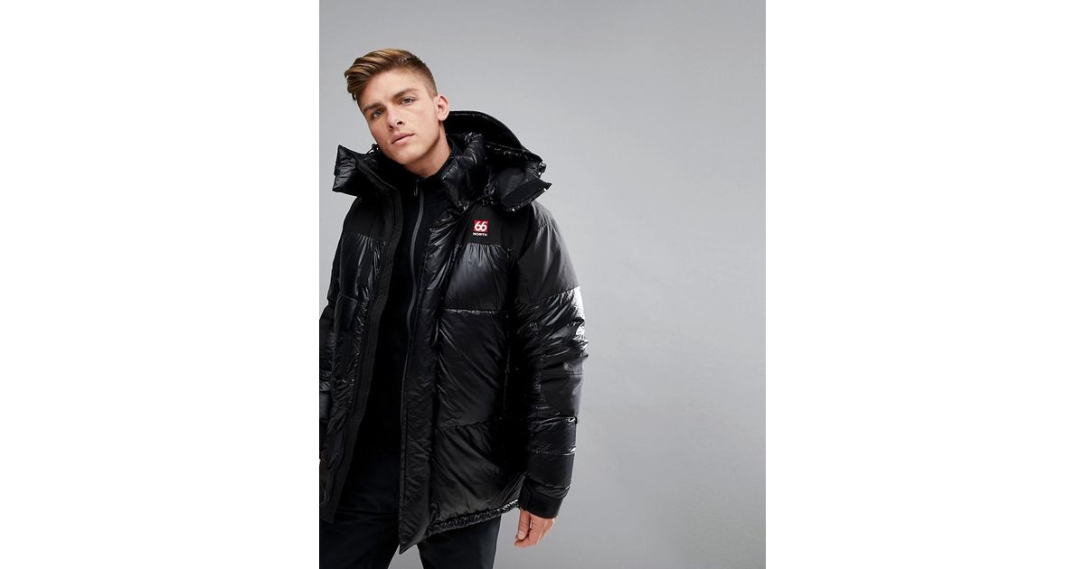 86446ad2d 66o North 66 North Tindur Hooded Down Jacket In Black for men