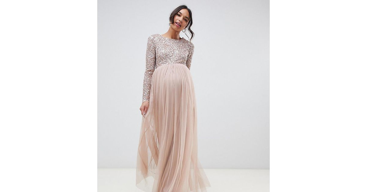 e4f7b88dc5639 Maya Maternity Bridesmaid Long Sleeved Maxi Dress With Delicate Sequin And  Tulle Skirt In Taupe Blush in Brown - Lyst