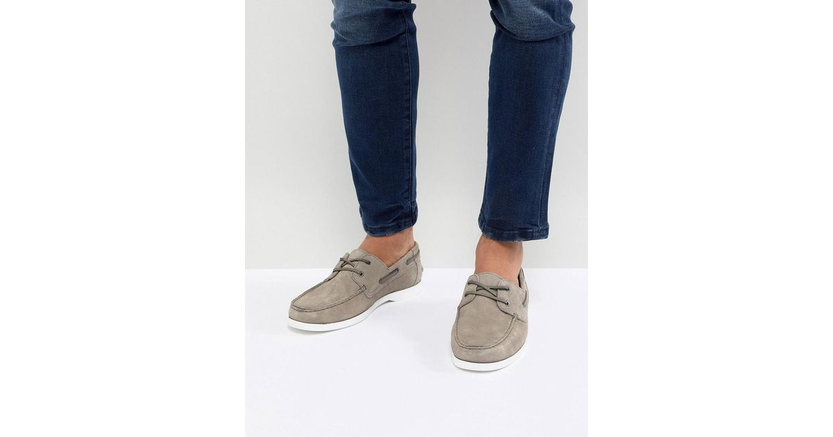 ASOS DESIGN Boat Shoes In Grey Suede clearance lowest price shop sale online 8Vtuqu
