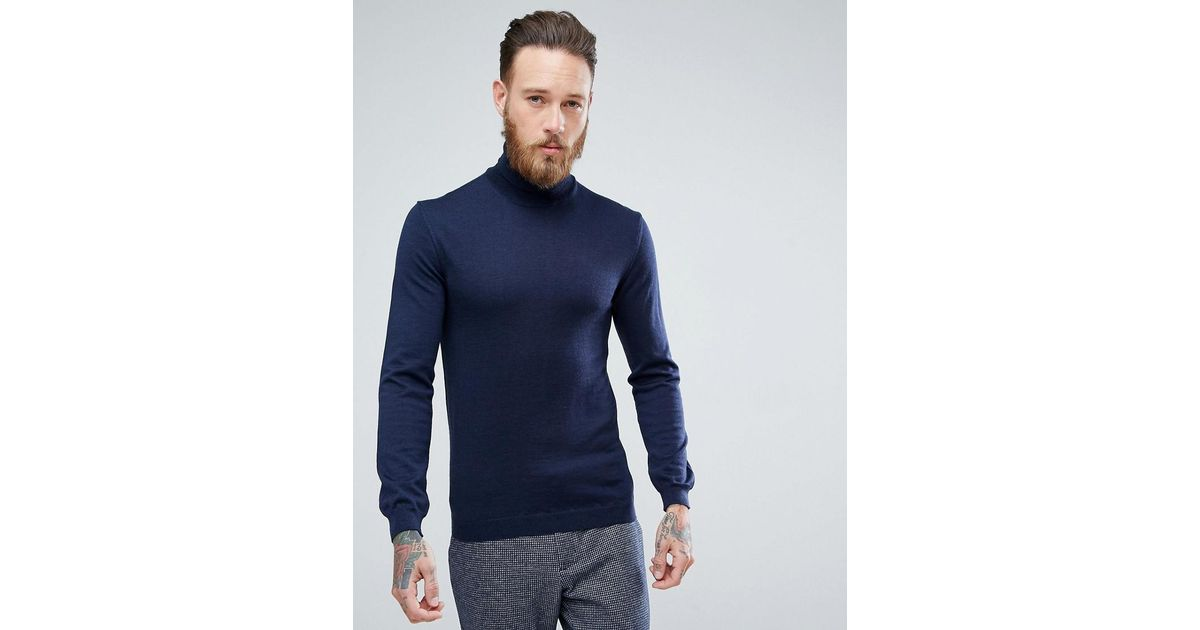 082a6a99 ASOS Asos Muscle Fit Merino Roll Neck Sweater In Navy in Blue for Men - Lyst